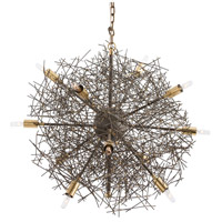 Brazos 12 Light 24 inch Natural Iron/Polished Brass/Brass Chandelier Ceiling Light