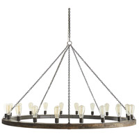 Arteriors 86017 Geoffrey 20 Light 60 inch Dark Gray and Natural Iron Chandelier Ceiling Light Large