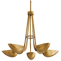 Arteriors 86021 Vader 5 Light 34 inch Antique Brass Chandelier Ceiling Light