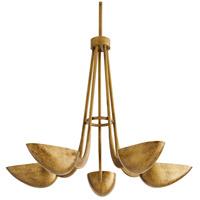 Arteriors 86021 Vader 5 Light 34 inch Antique Brass Chandelier Ceiling Light