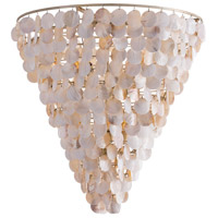 St. Barts 10 Light 36 inch Natural Shell/Champagne Leafed Iron Chandelier Ceiling Light, Fixed