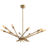 Webster 10 Light 9 inch Antique Brass Chandelier Ceiling Light