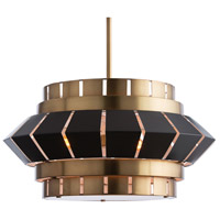 Walt 3 Light 28 inch Antique Brass/Matte Black Chandelier Ceiling Light