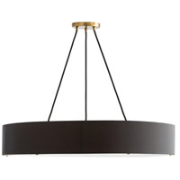 Marsha 6 Light 36 inch Matte Black and Antique Brass Chandelier Ceiling Light