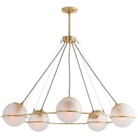 Hathoway 5 Light 39 inch Polished Brass Chandelier Ceiling Light