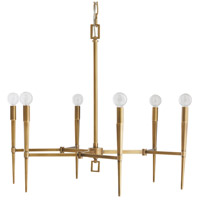 Auburn 6 Light 27 inch Antique Brass Chandelier Ceiling Light