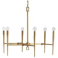 Arteriors 89295 Auburn 6 Light 27 inch Antique Brass Chandelier Ceiling Light