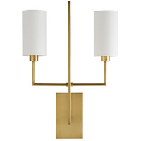 Arteriors DB49017 Blade 2 Light 18 inch Antique Brass Sconce Wall Light, Ray Booth, Essential Lighting