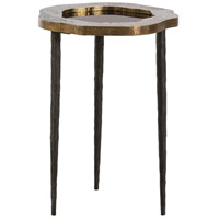 Brutalist 15 inch Natural Iron/Antique Brass/Vintage Silver Side Table