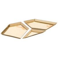 Olivia Polished Brass Tray, Set of 3