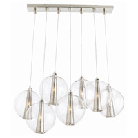 Caviar 7 Light 36 inch Polished Nickel Pendant Ceiling Light, Fixed Staggered