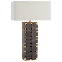 Elis 32 inch 150 watt Moss Grey/Polished Brass Table Lamp Portable Light, Rectangle
