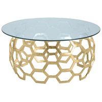 Dolma Gold Leaf Cocktail Table Home Decor, Round