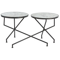 Ishani 22 inch Natural Iron Cocktail Table, Set of 2,Round