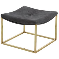 Diana 17 inch Moss Gray/Polished Brass Stool, Square