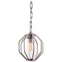 Atlas 1 Light 10 inch Vintage Silver Pendant Ceiling Light, Hexagon