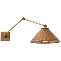 Padma 1 Light 12 inch Antique Brass/Natural Rattan Sconce Wall Light, Round