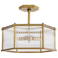 Arteriors DS49027 Windsor Smith Hera 4 Light 16 inch Antique Brass Semi Flush Mount Ceiling Light, Hexagon