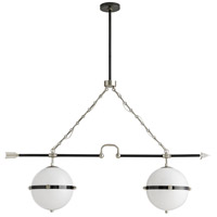 Windsor Smith Celestial Twins 4 Light 48 inch Vintage Silver and Dark Bronze Linear Pendant Ceiling Light