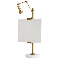 Windsor Smith Aja 34 inch 35 watt Antique Brass and White Marble Table Lamp Portable Light