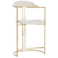 Arteriors DS9017 Zephyr 39 inch Polished Brass/White Counter Stool, Round