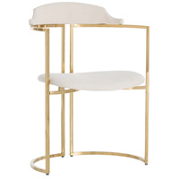 Zephyr Polished Brass/White Chair Home Decor, Round