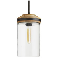 Arteriors DW42001 Sumter 1 Light 10 inch Black and Bronze with Natural Wood Pendant Ceiling Light, Beth Webb