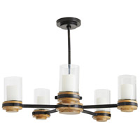 Arteriors DW82003 Sumter 5 Light 33 inch Black and Bronze with Natural Wood Candle Chandelier Ceiling Light, Beth Webb