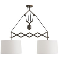 Arteriors DB49008 Pantograph 2 Light 50 inch Aged Bronze Pendant Ceiling Light Ray Booth