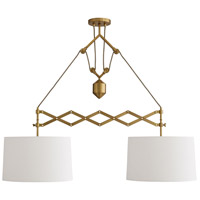 Arteriors DB49009 Pantograph 2 Light 50 inch Antique Brass Pendant Ceiling Light Ray Booth