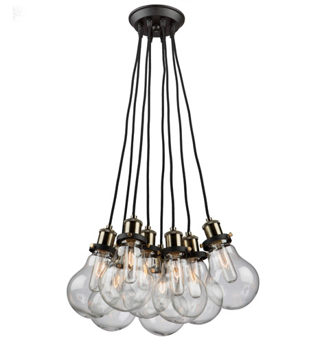 Black and Vintage Brass Chandeliers