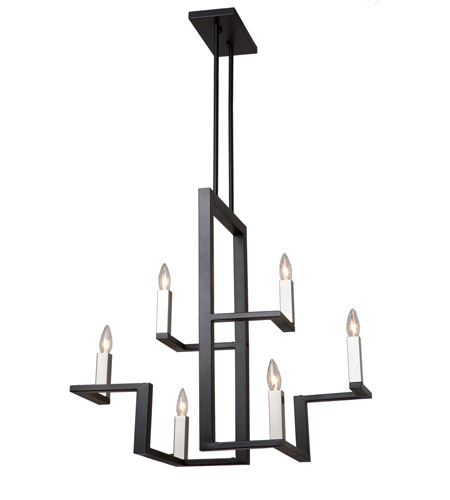 Artcraft AC11136 Urban Chic 6 Light 14 inch Matte Black and Satin Nickel Chandelier Ceiling Light photo thumbnail
