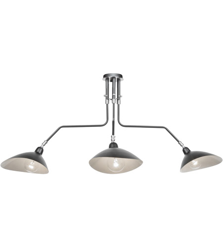 Artcraft AC11213 Nero 3 Light 41 inch Black and White Interior Semi Flush Ceiling Light photo thumbnail