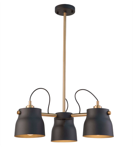 Artcraft AC11363VB Euro Industrial 3 Light 21 inch Matte Black and Harvest Brass Chandelier Ceiling Light photo thumbnail