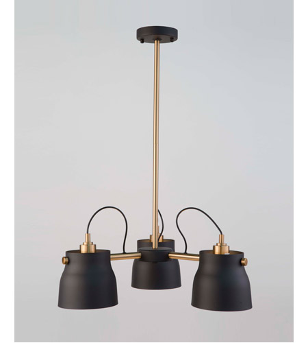 Artcraft AC11363VB Euro Industrial 3 Light 21 inch Matte Black and Harvest Brass Chandelier Ceiling Light alternative photo thumbnail