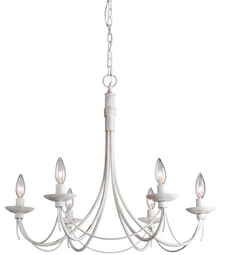 Artcraft Lighting Wrought Iron 6 Light Chandelier in Antique White AC1486AW photo