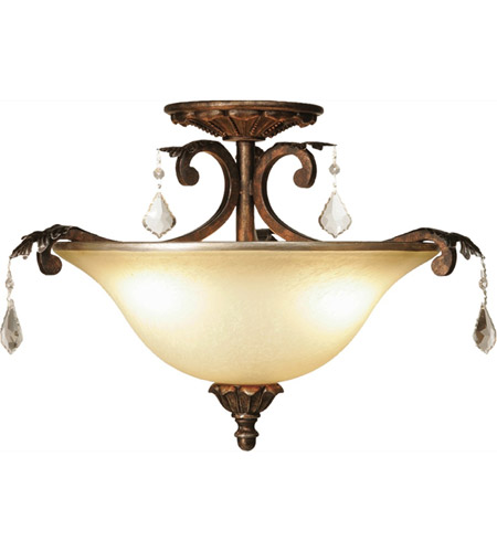 Artcraft AC1832 Florence 3 Light 16 inch Multi Tone Bronze Semi Flush Mount Ceiling Light photo