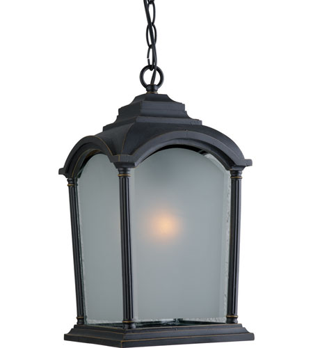 Artcraft Lighting Hartford 1 Light Outdoor Pendant in Black w/ Bronze Highlights AC8105BG photo