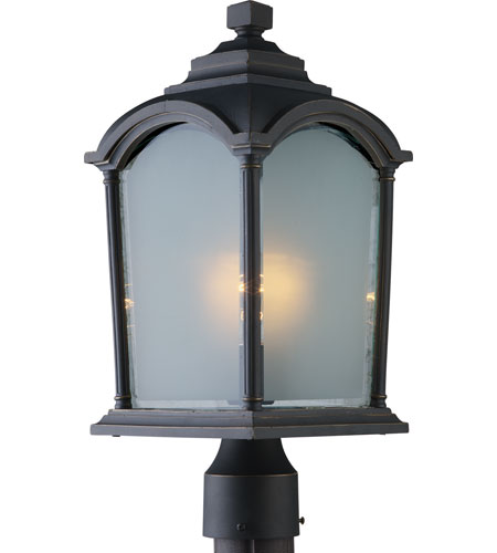 Artcraft Lighting Hartford 1 Light Post Head in Black w/ Bronze Highlights AC8123BG photo