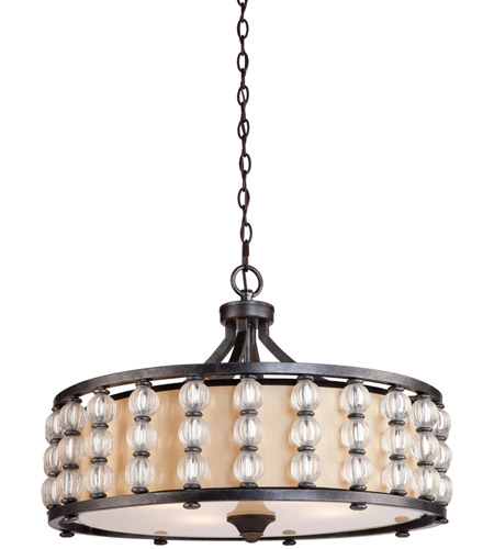 Artcraft Lighting Charleston 4 Light Pendant with Satin Hard Back Shade CD2034 photo