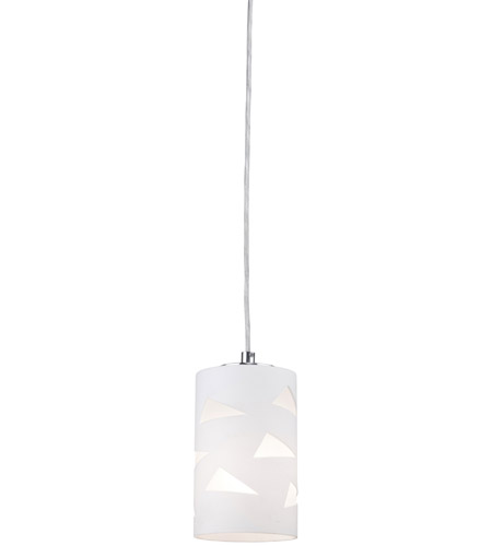 Artcraft Lighting White Plains 1 Light Single Pendant with Opal White w/ Clear Triangles Glass JA461 photo