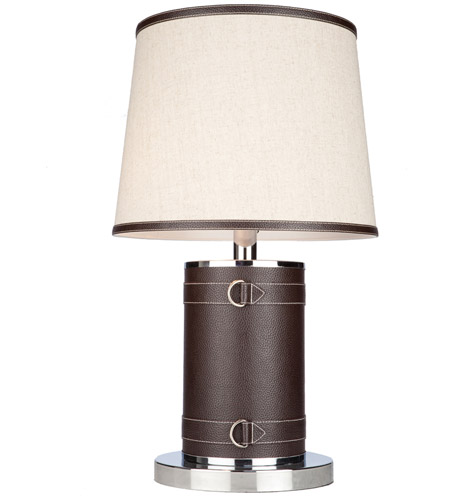 Steven & Chris by Artcraft Lighting Bay Street 2 Light Table Lamp in Brown Leather SC879OM photo