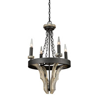Artcraft Lighting Castello 4 Light Chandelier in Aspen Wood with Black AC10014