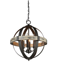 Castello 4 Light 20 inch Distressed Wood/Black Chandelier Ceiling Light