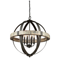 Castello 6 Light 27 inch Distressed Wood and Black Chandelier Ceiling Light