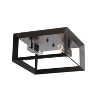 Vineyard 2 Light 12 inch Matte Black Flush Mount Ceiling Light