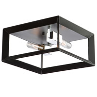 Vineyard 2 Light 12 inch Black and Chrome Flush Mount Ceiling Light
