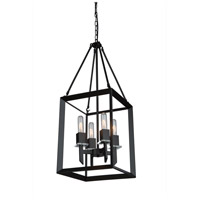 Vineyard 4 Light 12 inch Matte Black Chandelier Ceiling Light