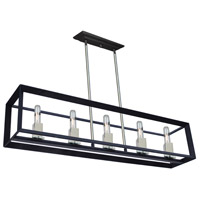 Vineyard 4 Light 39 inch Black/Chrome Island Light Ceiling Light