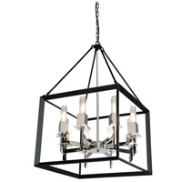 Vineyard 8 Light 20 inch Black/Chrome Chandelier Ceiling Light
